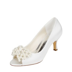Women's Silk Like Satin Stiletto Heel Pumps With Imitation Pearl Crystal