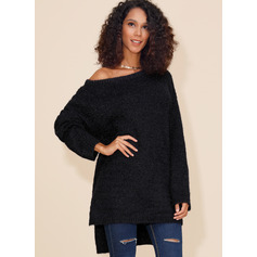 Solid Polyester One Shoulder Pullovers Sweaters (1002222946)