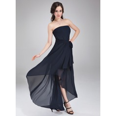 A-Line/Princess Strapless Asymmetrical Chiffon Bridesmaid Dress With Sash Bow(s)