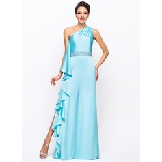 Sheath/Column One-Shoulder Floor-Length Satin Chiffon Prom Dress With Beading Split Front Cascading Ruffles