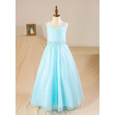 Ball Gown Floor-length Flower Girl Dress - Tulle Sleeveless Straps With Beading/Sequins/Rhinestone