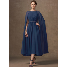 A-Line Scoop Neck Tea-Length Chiffon Mother of the Bride Dress With Beading