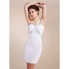 Sheath/Column One-Shoulder Short/Mini Chiffon Cocktail Dress With Ruffle Beading Appliques Lace