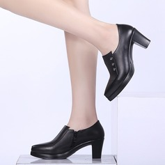 Women's Real Leather Chunky Heel Pumps Platform shoes