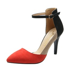 Suede Stiletto Heel Sandals Closed Toe With Buckle shoes