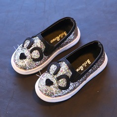 Girl's Round Toe Leatherette Flat Heel Flats With Sequin