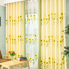 punch fixing,Decoration Polyester Embroidery Bright Sunflowers Sweet Style Sheer Lining Curtain Set(Contain Tulle) (Sold in a single piece)
