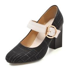 Femmes Tissu Talon bottier Escarpins Bout fermé Mary Jane avec Boucle chaussures