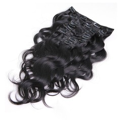 4A Non remy Body Human Hair Clip in Hair Extensions 7pcs 70g (235152084)