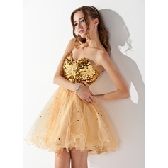 A-Line/Princess Sweetheart Short/Mini Tulle Sequined Homecoming Dress