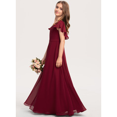 V-neck Floor-Length Chiffon Junior Bridesmaid Dress With Cascading Ruffles (268236790)