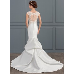 Trumpet/Mermaid Illusion Chapel Train Satin Wedding Dress With Beading Sequins