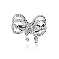 Bowknot Copper/Zircon/Platinum Plated Ladies' Rings
