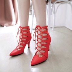 Women's PU Stiletto Heel Pumps Closed Toe With Zipper Lace-up shoes