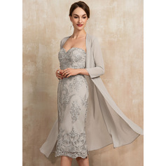Sheath/Column Sweetheart Knee-Length Lace Cocktail Dress