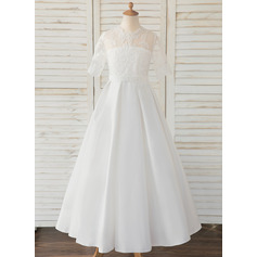 A-Line Floor-length Flower Girl Dress - Satin/Lace 1/2 Sleeves Scoop Neck