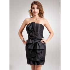Forme Fourreau Sans bretelle Court/Mini Taffeta Robe de cocktail avec Plissé