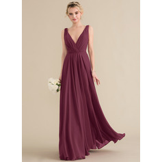 V-neck Floor-Length Chiffon Bridesmaid Dress (266213425)