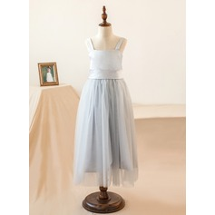 Empire Tea-length Flower Girl Dress - Organza/Satin Sleeveless Straps With Bow(s)