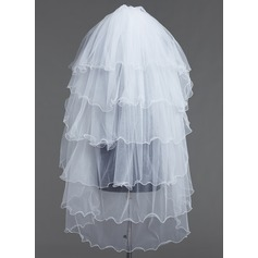 Six-tier Fingertip Bridal Veils With Scalloped Edge