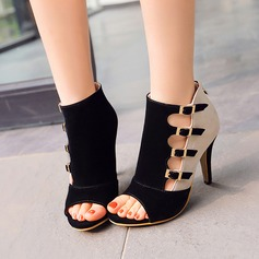Women's Leatherette Stiletto Heel Sandals With Buckle Hollow-out shoes (088114629)