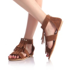 Women's Suede Flat Heel Sandals Flats Peep Toe With Tassel shoes