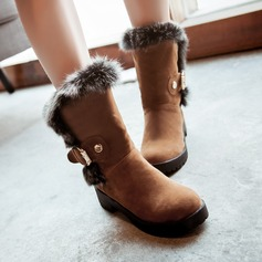 Women's Suede Low Heel Closed Toe Boots Mid-Calf Boots With Buckle Fur shoes