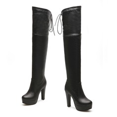 Women's Leatherette Chunky Heel Platform Knee High Boots With Ruched Braided Strap shoes