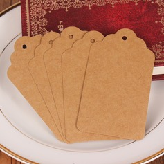 100pcs Wavy Top Rounded Blank Kraft Paper Tags
