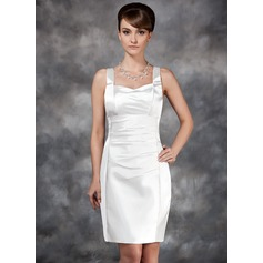 Sheath/Column Sweetheart Knee-Length Charmeuse Wedding Dress With Ruffle (265193172)