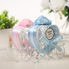 Lovely/Heart style Heart-shaped Metal Candy Jars and Bottles With Ribbons