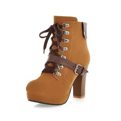 Leatherette Chunky Heel Ankle Boots With Buckle Lace-up shoes (088039468)