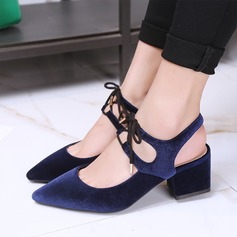 Women's Chunky Heel Sandals Pumps With Lace-up shoes