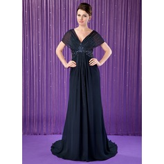 Trumpet/Mermaid V-neck Court Train Chiffon Mother of the Bride Dress With Beading Sequins