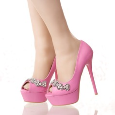 Women's Leatherette Stiletto Heel Platform Pumps With Rhinestone (047113723)