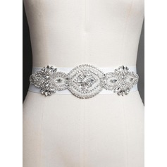 Stylish Satin Sash With Rhinestones/Imitation Pearls (015071958)