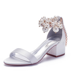 Women's Silk Like Satin Chunky Heel Peep Toe Sandals With Imitation Pearl Rhinestone Chain