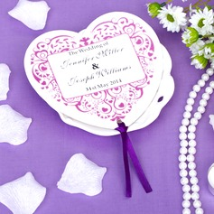 Personalized Heart Shaped Paper Hand Fans With Ribbons