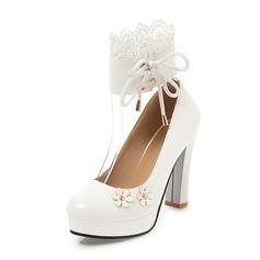 Femmes PU Talon bottier Escarpins Plateforme avec Dentelle Une fleur chaussures