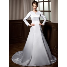 A-Line/Princess Scoop Neck Chapel Train Satin Wedding Dress With Lace Beading