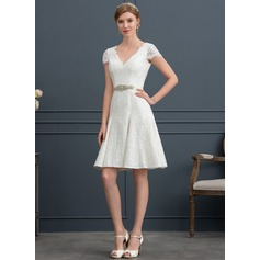 V-neck Knee-Length Lace Wedding Dress With Beading (265203542)