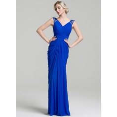 Trumpet/Mermaid V-neck Floor-Length Jersey Mother of the Bride Dress With Ruffle Beading