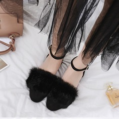 Women's Suede Flat Heel Flats Closed Toe With Buckle Fur shoes
