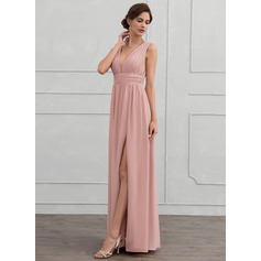 V-neck Floor-Length Chiffon Evening Dress With Ruffle (271194374)