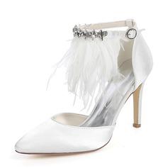 Women's Silk Like Satin Stiletto Heel Pumps With Feather Rhinestone Chain