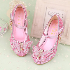 Jentas Lukket Tå Leather lav Heel Flower Girl Shoes med Bowknot Rhinestone Velcro (207134062)