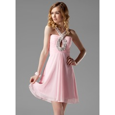 A-Line/Princess V-neck Short/Mini Chiffon Homecoming Dress With Ruffle Beading Appliques Lace Sequins