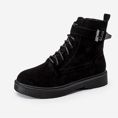 Women's Suede Low Heel Boots Martin Boots With Buckle Zipper Lace-up shoes