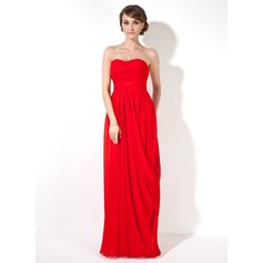 Sheath/Column Sweetheart Floor-Length Chiffon Evening Dress With Ruffle