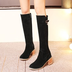 Women's Suede Chunky Heel Boots Knee High Boots With Buckle Zipper shoes